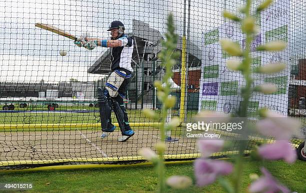 Ian Bell of England bats during a nets session at Old Trafford on May 27, 2014 in Manchester, England.