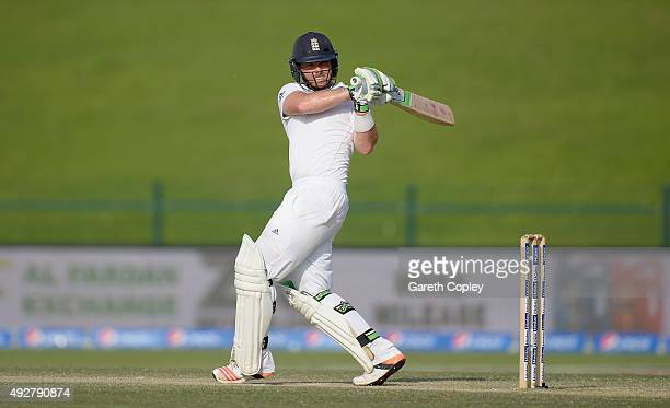 Ian Bell of England bats during day three of the 1st Test between Pakistan and England at Zayed Cricket Stadium on October 15 2015 in Abu Dhabi...