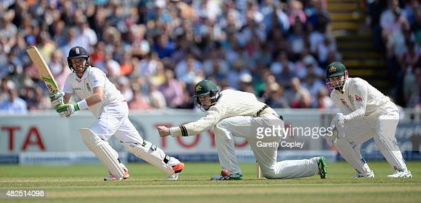 Ian Bell of England bats during day three of the 3rd Investec Ashes Test match between England and Australia at Edgbaston on July 31, 2015 in...