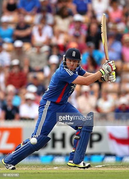 Ian Bell of England bats during the first match of the one day international series between New Zealand and England at Seddon Park on February 17...