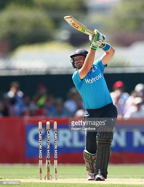 Ian Bell of England bats during the One Day International Tri Series match between Australia and England at Blundstone Arena on January 23 2015 in...
