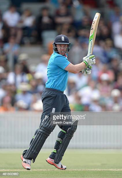 Ian Bell of England bats during the tour match between the Prime Ministers XI and England at Manuka Oval on January 14 2015 in Canberra Australia
