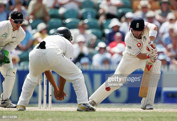 Ian Bell of England blocks the ball during day five of the First Test match between New Zealand and England at Seddon Park March 9 2008 in Hamilton...
