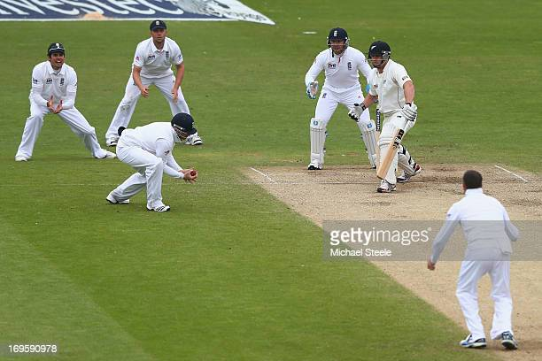 Ian Bell of England catches Doug Bracewell of New Zealand off the bowling of Graeme Swann during day five of the 2nd Investec Test match between...