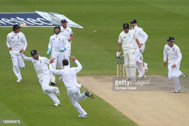 Ian Bell of England celebrates after catching Doug Bracewell of New Zealand off the bowling of Graeme Swann during day five of the 2nd Investec Test...