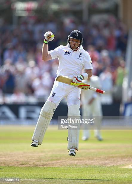 Ian Bell of England celebrates after reaching his century during day four of the 1st Investec Ashes Test match between England and Australia at Trent...