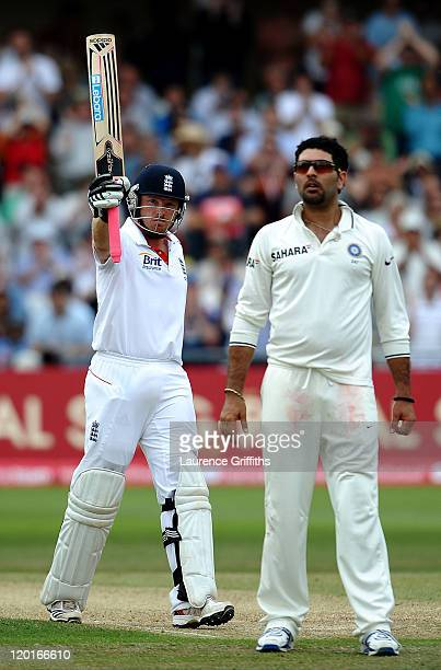 Ian Bell of England celebrates his 150 runs in front of Yuvraj Singh of India during the second npower Test match between England and India at Trent...
