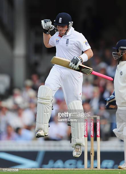 Ian Bell of England celebrates his century during day two of the 4th npower Test Match between England and India at The Kia Oval on August 19 2011 in...