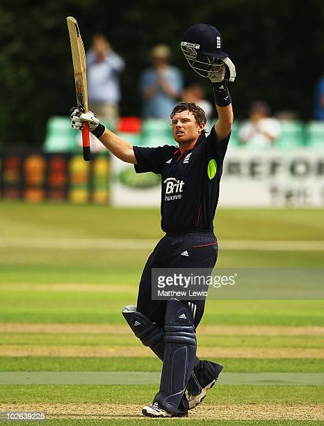 Ian Bell of England celebrates his century during the One Day International match between England Lions and India A at New Road on July 6 2010 in...