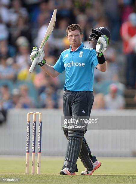 Ian Bell of England celebrates reaching his century during the tour match between the Prime Ministers XI and England at Manuka Oval on January 14...