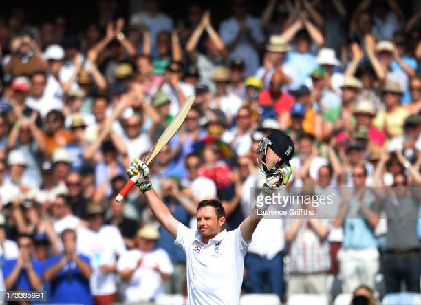 Ian Bell of England celebrates scoring a century during day four of 1st Investec Ashes Test match between England and Australia at Trent Bridge...