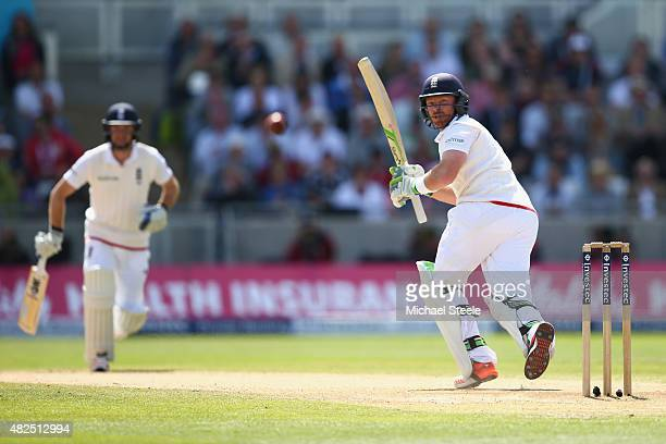 Ian Bell of England clips a delivery off the bowling of Mitchell Starc to the fine leg boundary during day three of the 3rd Investec Ashes Test match...