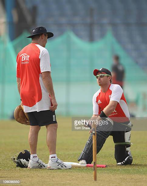 Ian Bell of England has a chat with batting coach Graham Gooch hits out during the England nets session at the Khan Saheb Osman Ali Stadium on...