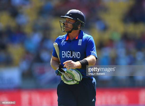 Ian Bell of England heads back to the dressing room after losing his wicket to Tim Southee of New Zealand during the 2015 ICC Cricket World Cup match...