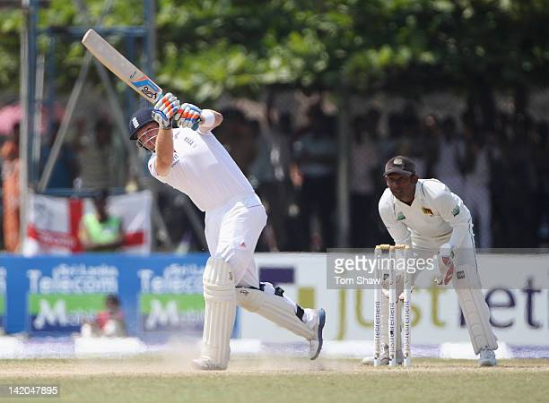 Ian Bell of England hits out during day 4 of the 1st test match between Sri Lanka and England at Galle International Cricket Ground on March 29 2012...