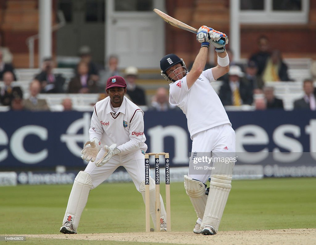 Ian Bell of England hits out during day 5 of the 1st Investec Test match between England and West Indies at Lord's Cricket Ground on May 21, 2012 in London, England.
