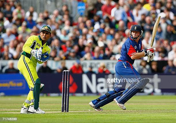 Ian Bell of England hits out during the 1st Natwest Series One Day International match between England and Pakistan at Sophia Gardens on August 30...