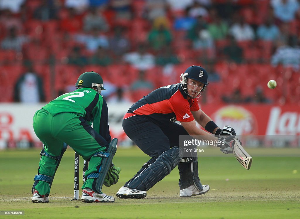 Ian Bell of England hits out during the 2011 ICC World Cup Group B match between England and Ireland at the M. Chinnaswamy Stadium on March 2, 2011 in Bangalore, India.