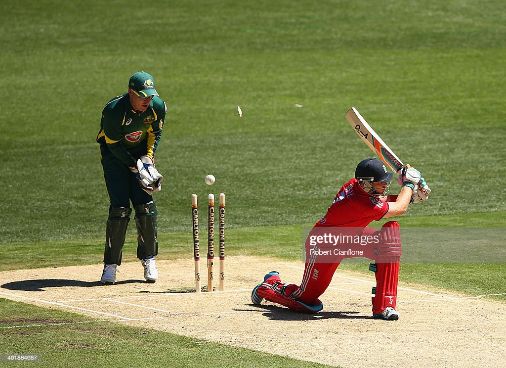Ian Bell of England is bowled by Zavier Doherty of Australia during game one of the one day international series between Australia and England at the Melbourne Cricket Ground on January 12, 2014 in Melbourne, Australia.