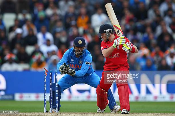Ian Bell of England is stumped by MS Dhoni of India off the bowling of Ravindra Jadeja during the ICC Champions Trophy Final match between England...
