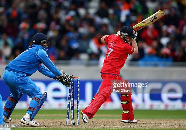 Ian Bell of England is stumped by MS Dhoni of India off the bowling of Ravindra Jadeja of India for during the ICC Champions Trophy Final match...