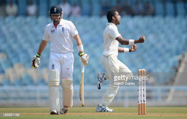 Ian Bell of England leaves the field after being dismissed by Kshemal Waingankar of Mumbai A during day one of the tour match between Mumbai A and...