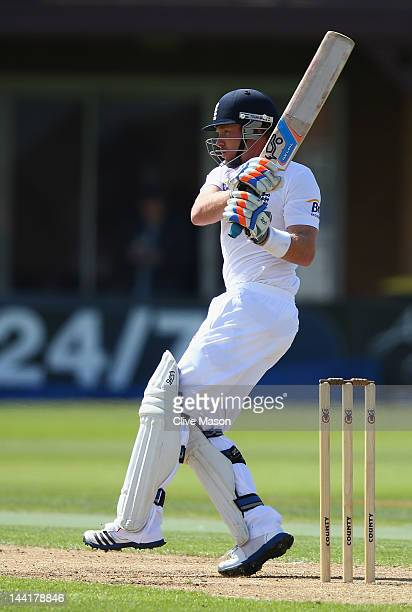 Ian Bell of England Lions in action batting during day two of the tour match between England Lions and West Indies at The County Ground on May 11...