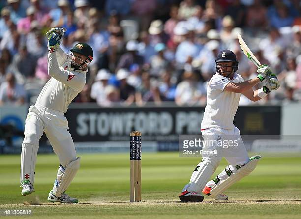 Ian Bell of England plays a shot during day four of the 2nd Investec Ashes Test match between England and Australia at Lord's Cricket Ground on July...