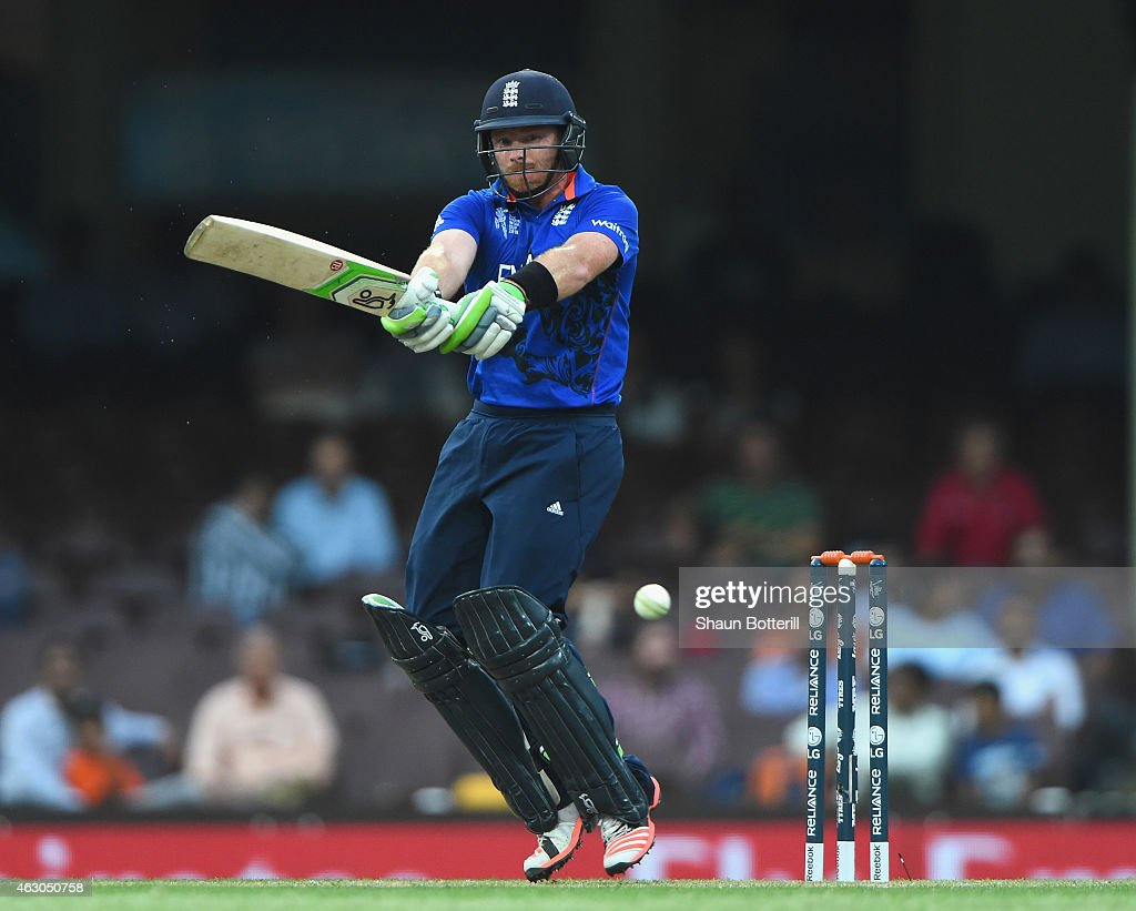 Ian Bell of England plays a shot on during the ICC Cricket World Cup warm up match between England and the West Indies at Sydney Cricket Ground on February 9, 2015 in Sydney, Australia.