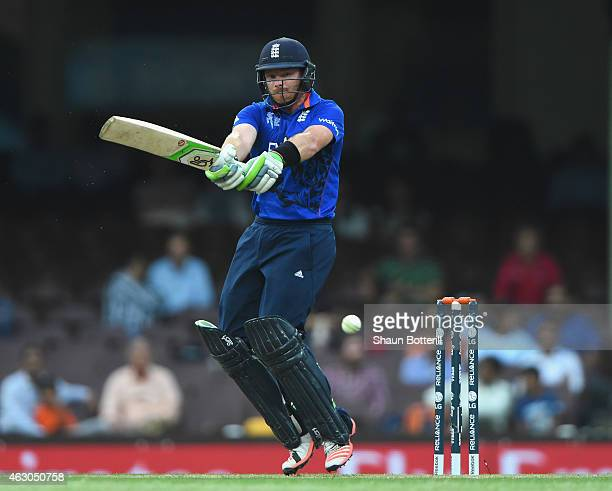 Ian Bell of England plays a shot on during the ICC Cricket World Cup warm up match between England and the West Indies at Sydney Cricket Ground on...