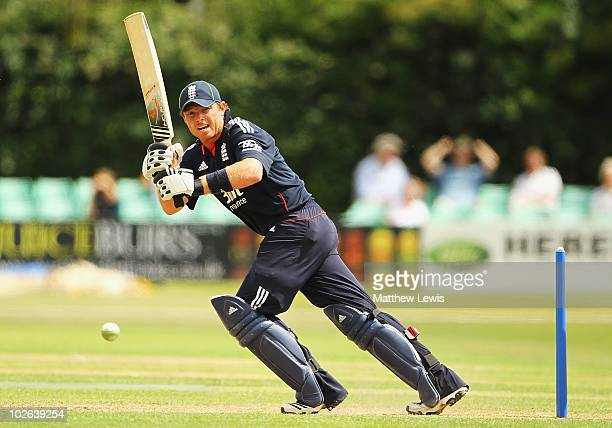 Ian Bell of England pushes the bal away towards the boundary during the One Day International match between England Lions and India A at New Road on...