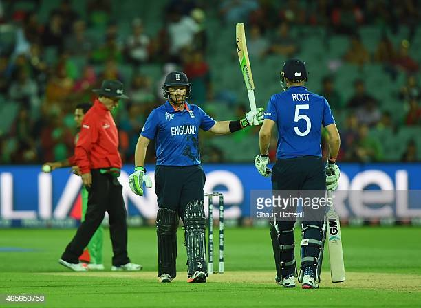 Ian Bell of England reaches his 50 during the 2015 ICC Cricket World Cup match between England and Bangladesh at Adelaide Oval on March 9 2015 in...