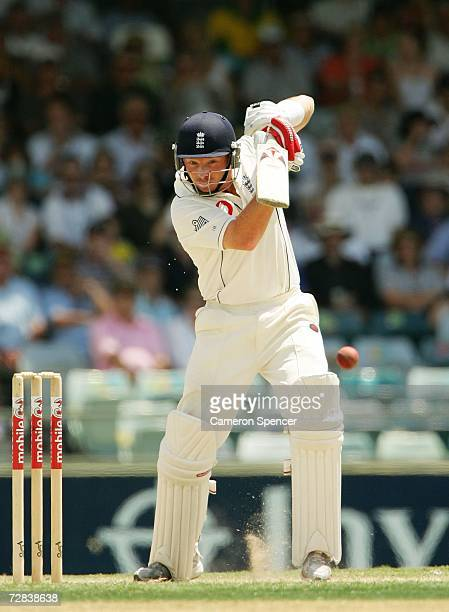 Ian Bell of England square drives during day four of the third Ashes Test Match between Australia and England at the WACA on December 17 2006 in...
