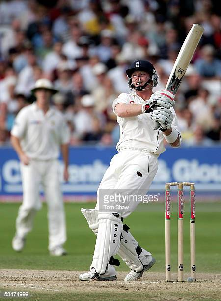Ian Bell of England watches his shot caught by Michael Kasprowicz of Australia during day four of the Fourth npower Ashes Test between England and...