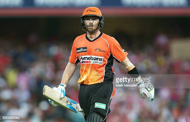 Ian Bell of the Scorchers walks from the field after being dismissed by a catch from Stephen O'Keefe of the Sixers during the Big Bash League match...