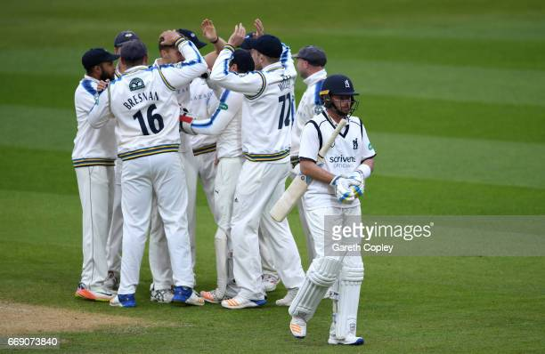 Ian Bell of Warwickshire leaves the field after being dismissed by Ben Coad of Yorkshire during day three of the Specsavers County Championship...