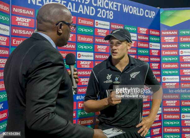 Ian Bishop interviews Captain Kaylum Boshier of New Zealand after the ICC U19 Cricket World Cup match between New Zealand and South Africa at Bay...