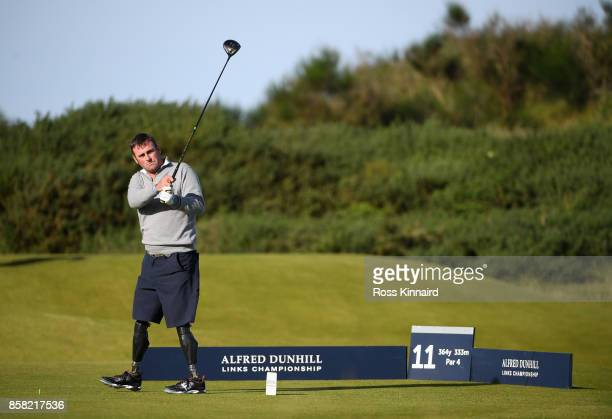Ian Bishop tees off on the 11th during day two of the 2017 Alfred Dunhill Championship at Kingsbarns on October 6 2017 in St Andrews Scotland