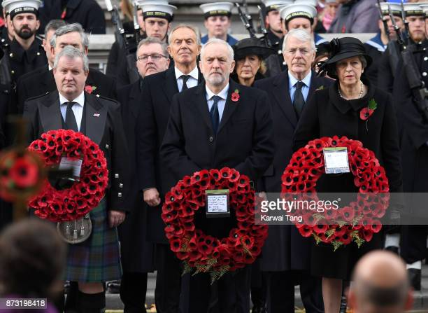Ian Blackford Jeremy Corbyn and Theresa May during the annual Remembrance Sunday Service at The Cenotaph on November 12 2017 in London England