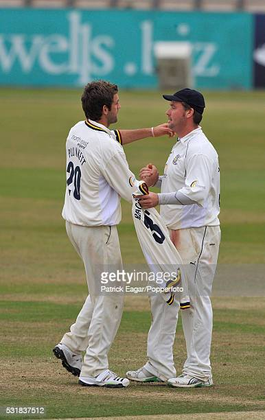 Ian Blackwell of Durham is congratulated on his fivewicket haul by teammate Liam Plunkett during the County Championship match between Hampshire and...
