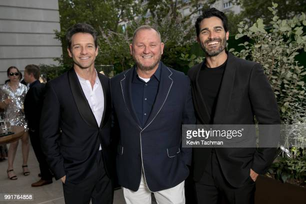 Ian Bohen amfAR CEO Kevin Robert Frost and Tyler Hoechlin attend the amfAR Paris Dinner at The Peninsula Hotel on July 4 2018 in Paris France