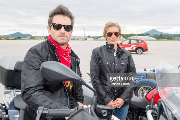 Ian Bohen and Katee Sackhoff pose during the arrival of the Life Ball plane on June 1 2018 in Salzburg Austria The EpicRiders travel from Zurich to...