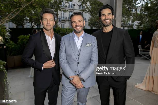 Ian Bohen Eric Muscatell and Tyler Hoechlin attend the amfAR Paris Dinner at The Peninsula Hotel on July 4 2018 in Paris France