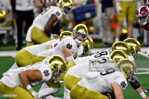 Ian Book of the Notre Dame Fighting Irish calls the cadence during the College Football Playoff Semifinal at the Rose Bowl football game against the...