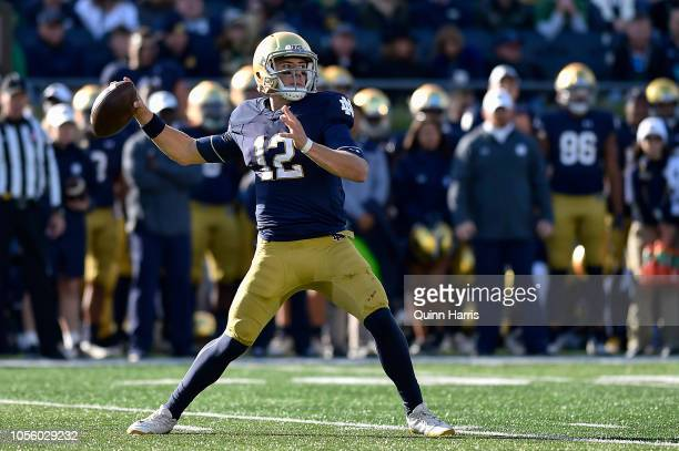 Ian Book of the Notre Dame Fighting Irish looks to pass the ball against the Pittsburgh Panthers at Notre Dame Stadium on October 13 2018 in South...