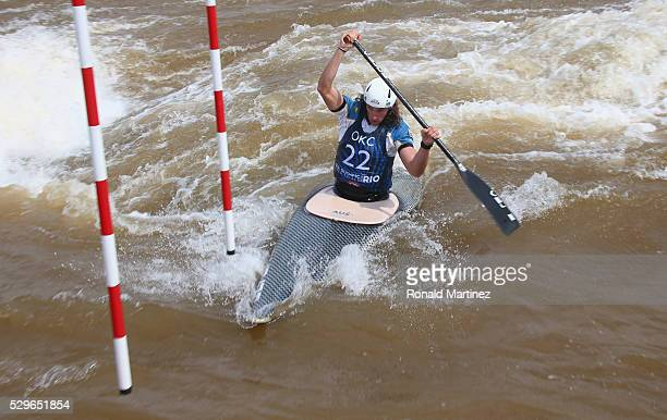 Ian Borrows of Australia competes in the Men's Canoe C1 during day two of the 2016 USA Canoe/Kayak Slalom Olympic Team Trials at the OKC Boathouse...
