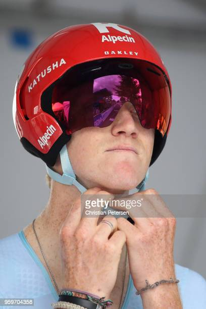 Ian Boswell of the United States riding for Team Katusha Alpecin prepares to start during stage four of the 13th Amgen Tour of California 2018 San...