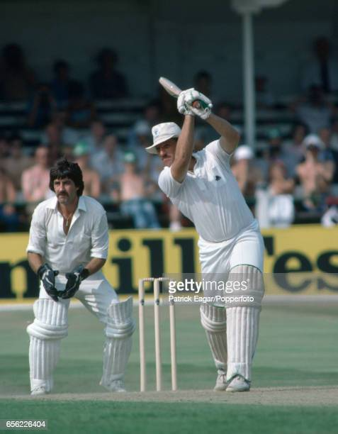 Ian Botham batting during his innings of 103 in the 4th Test match between England and New Zealand at Trent Bridge Nottingham 25th August 1983 The...