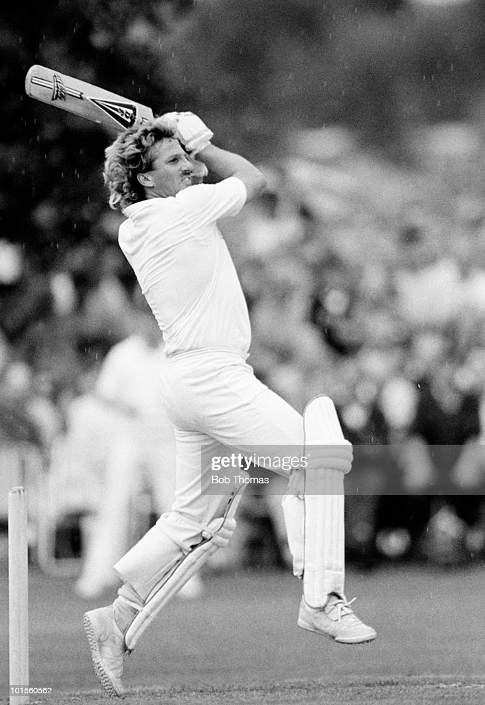 Ian Botham batting for Somerset against Northamptonshire during their John Player League cricket match held at Wellingborough School, Wellingborough on 10th August 1986. Botham hit a new John Player League record of thirteen 6s as well as twelve 4s in his 27-over innings and his 175 not out was one run short of Graham Gooch's record for the competition. There was no result after rain ended play. (Bob Thomas/Getty Images).