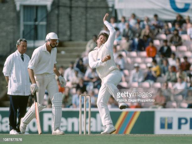 Ian Botham bowling for England during the Prudential World Cup group match between England and New Zealand at The Oval London 9th June 1983 The...